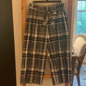 Plaid wide leg front zip cropped pants